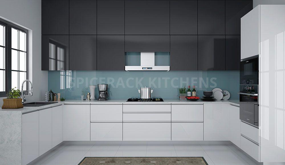 White And Grey U Shaped Modular Kitchen Kitchen Laminate Color