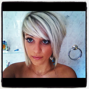 By Jackie Hanson. A Very Cool Blonde Asymmetrical Look!