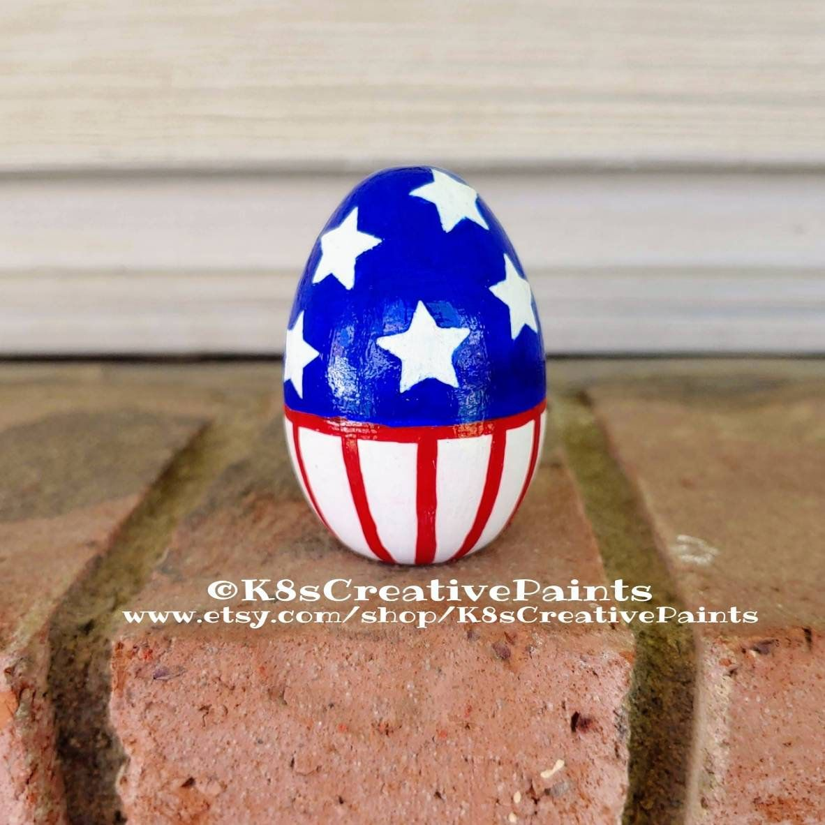 Handpainted Wooden Easter Egg in Americana United States of  Etsy