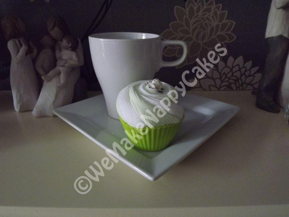 Green Baby Sock Cupcake