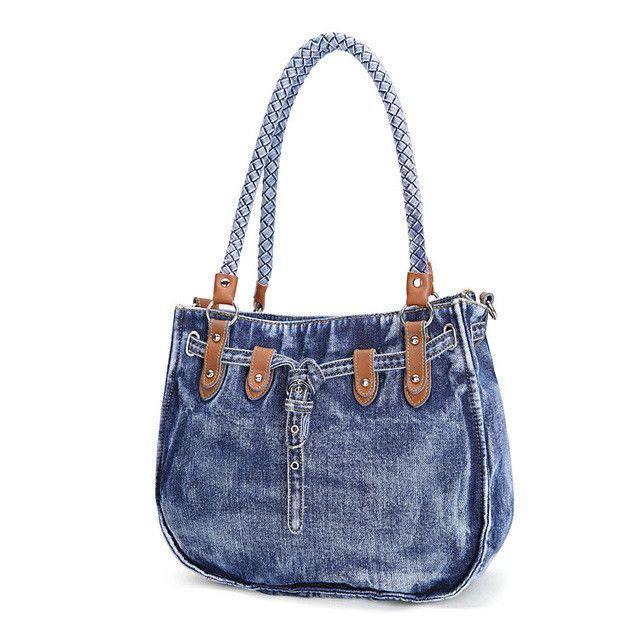 df56868e5335 KISS KAREN Vintage Fashion Washed Denim Totes Jeans Womens Bag Luxury Tote  Bag Women s Shoulder Bags