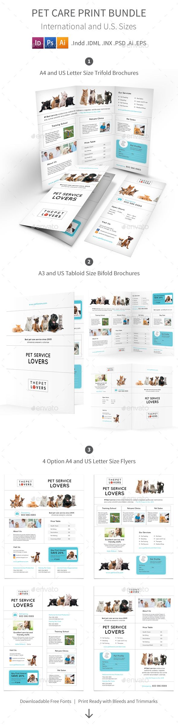 Pet Care Print Bundle   Pet Care Brochure Template And Brochures