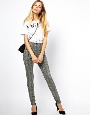 ASOS Tube Trousers in Tartan Check Print
