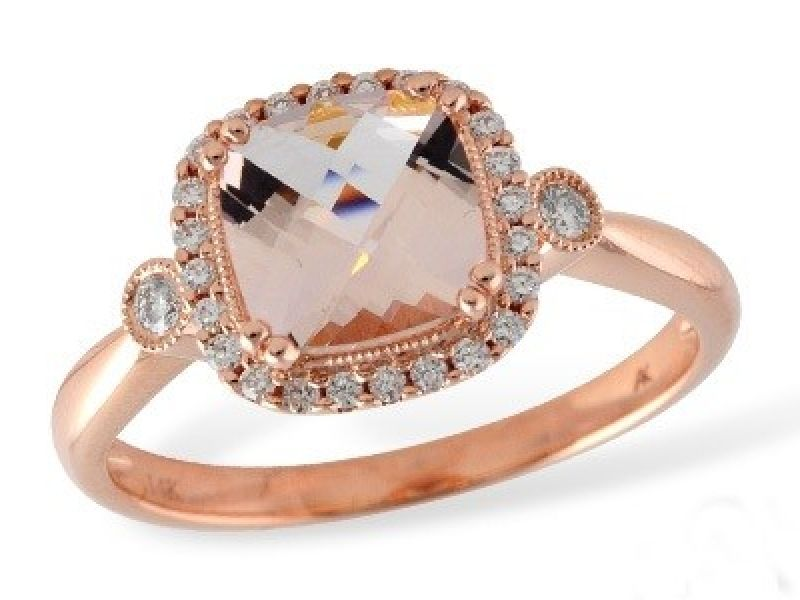 14K Rose Gold Morganite & Diamond Ring - 14K Rose Gold Morganite and Diamond Ring  Stones Information Morganite: 	1.10 ct Total Stones Wt: 	1.26 ct Diamond Color: 	G Diamond Clarity: 	SI1/2