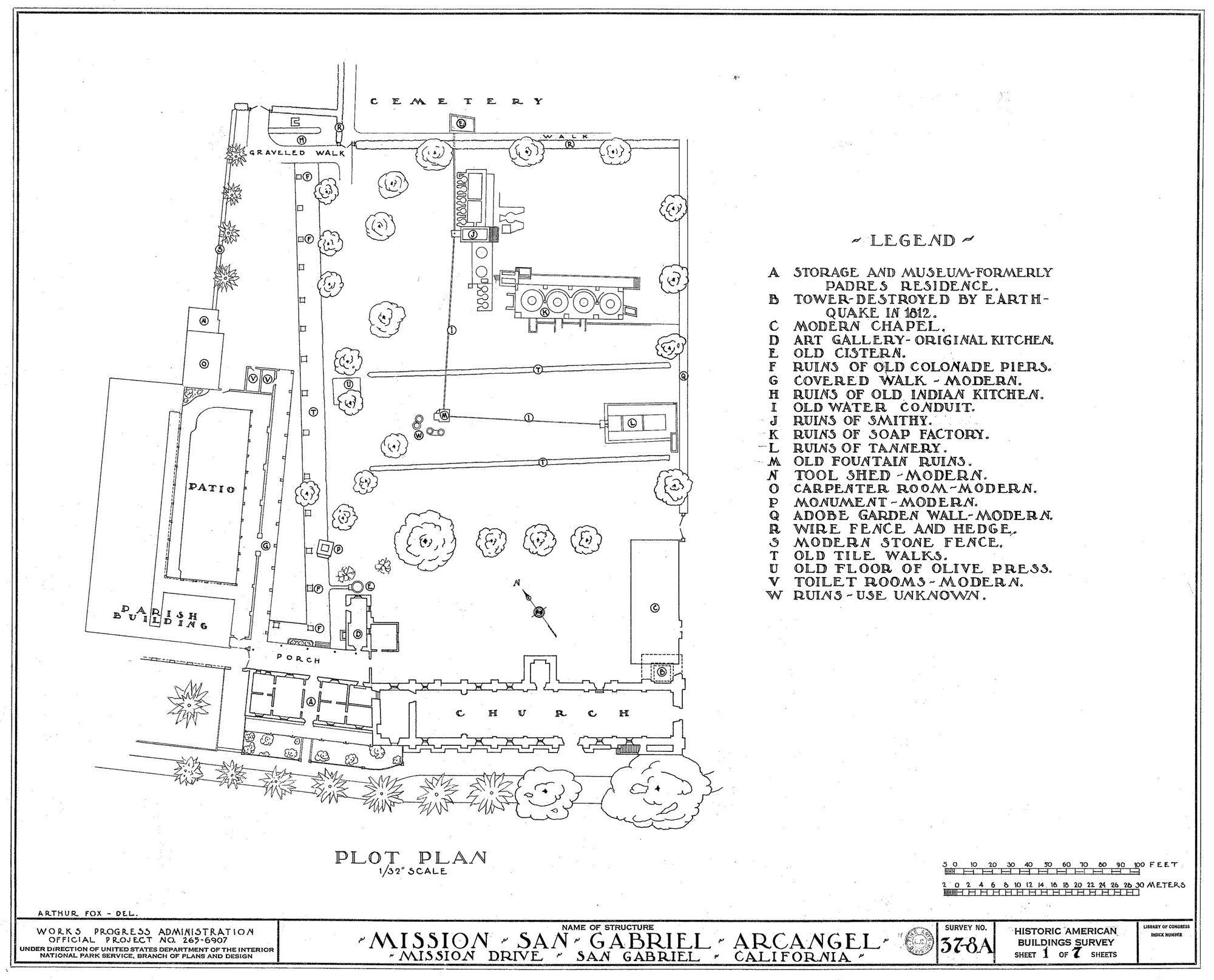 04 Plot Plan Of San Gabriel Web 0 Jpg 2 000 1 615 Pixels Plot Plan How To Plan California Missions Project