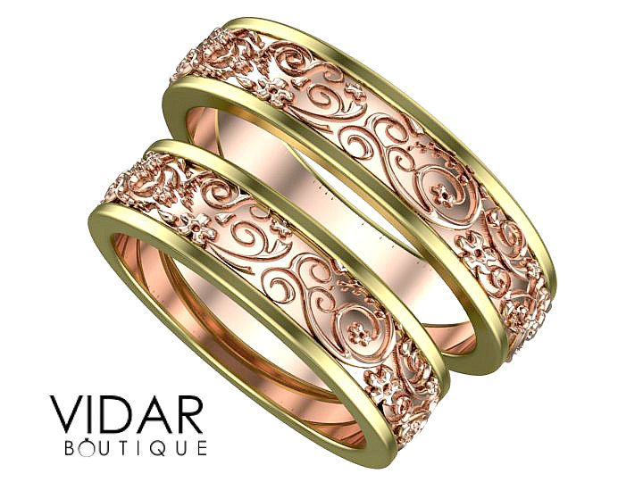 Matching Wedding Band Set Unique Rings His And Her Ring Two Tone Gold Bands Vidar Boutique By Vidarboutique