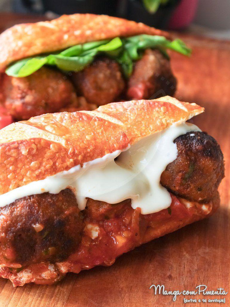 Receita De Sanduiche De Almondegas De Carne Com Molho De Tomate