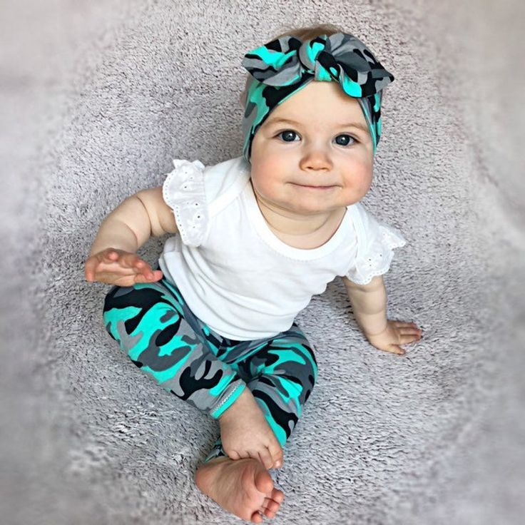 Photo of Camo Baby Girl Leggings and Knot Headband / Baby Pants / Baby Girl Gift Set / Newborn Girl Coming Home Outfit / Baby Clothes /