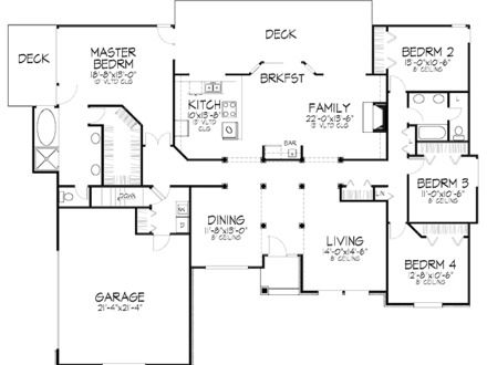 4 Bedroom Bungalow Plan In Nigeria House Plans Craftsman Style House Plans House Plans 4 Bedroom House Plans