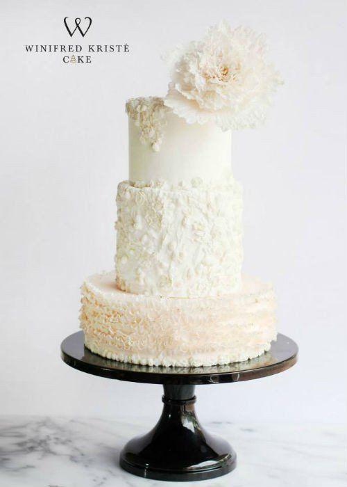 Stunning Ruffle Cake On A Black 16 Inch Stand