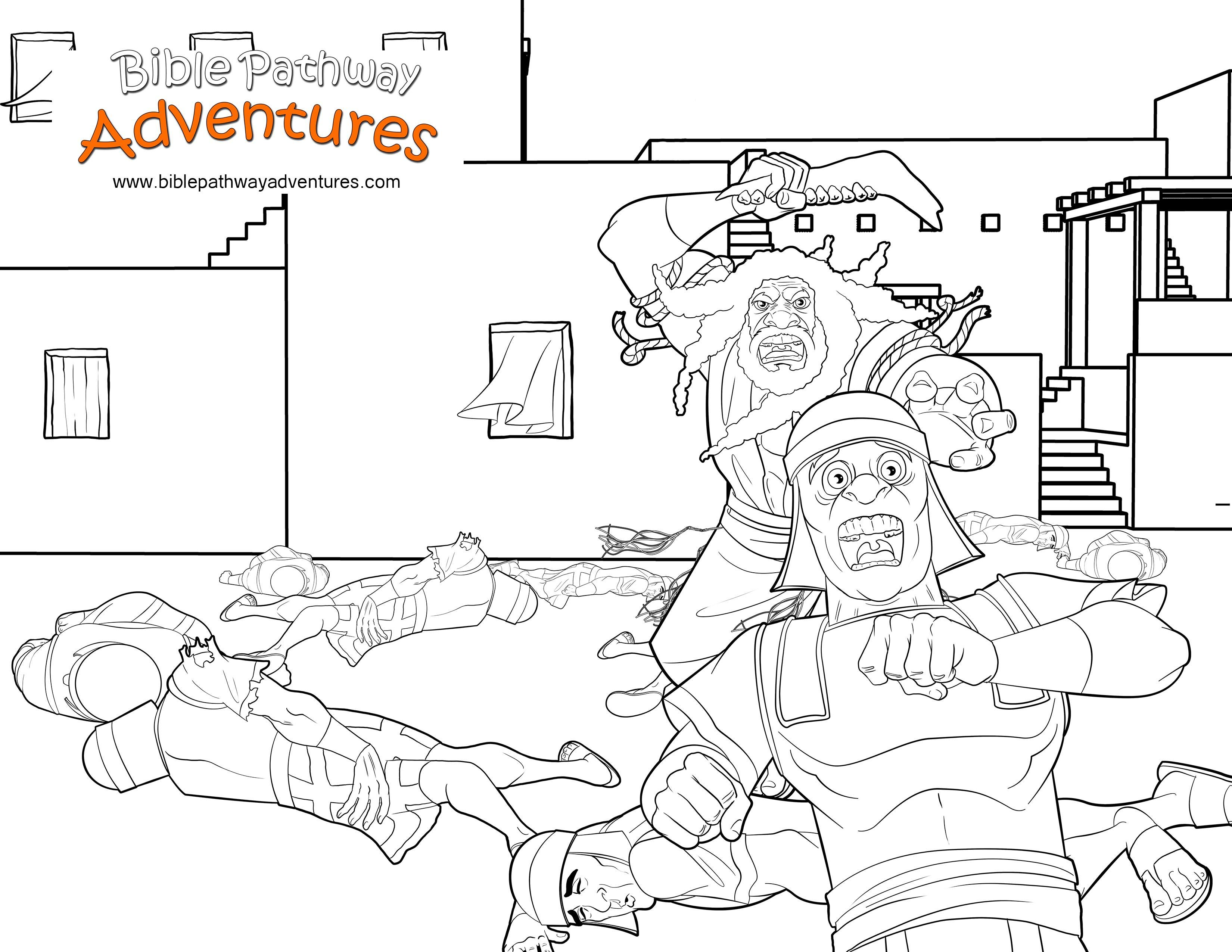 Bible Coloring Page: Samson defeats the Philistines | Sunday school