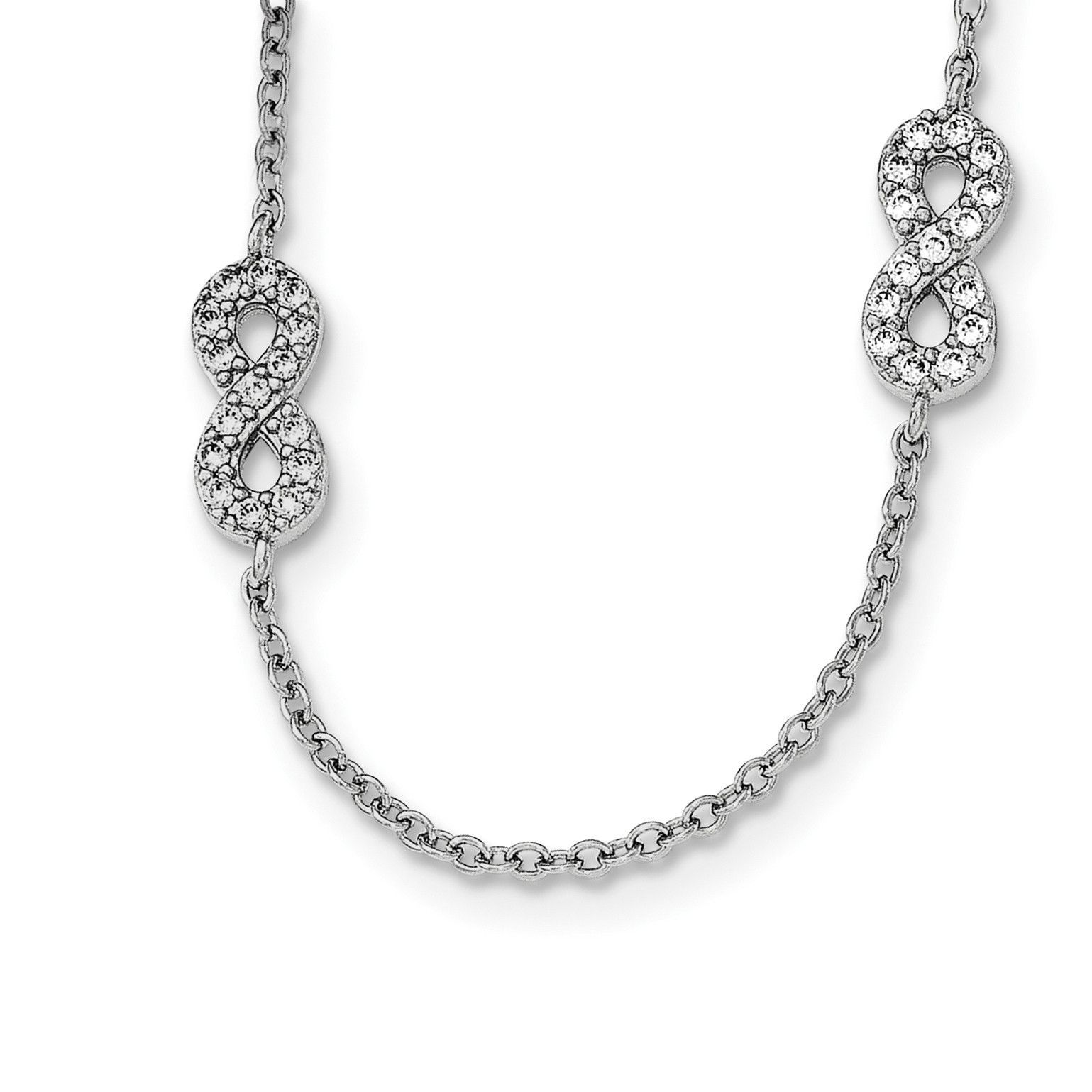 Sterling Silver Rhodium-plated & CZ Infinity Symbol w/2 IN Ext Necklace