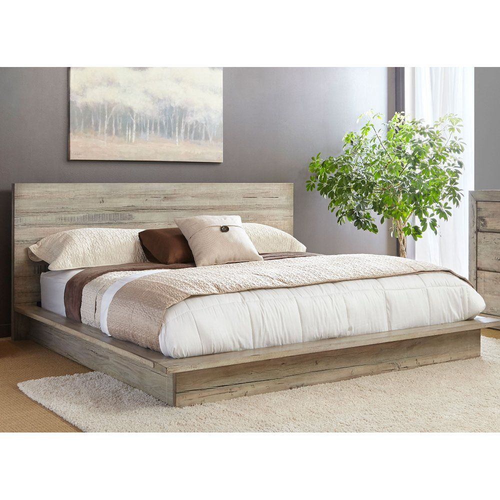 White Washed Modern Rustic King Platform Bed Renewal Rustic Bedroom Furniture Modern Platform Bed Platform Bed Designs
