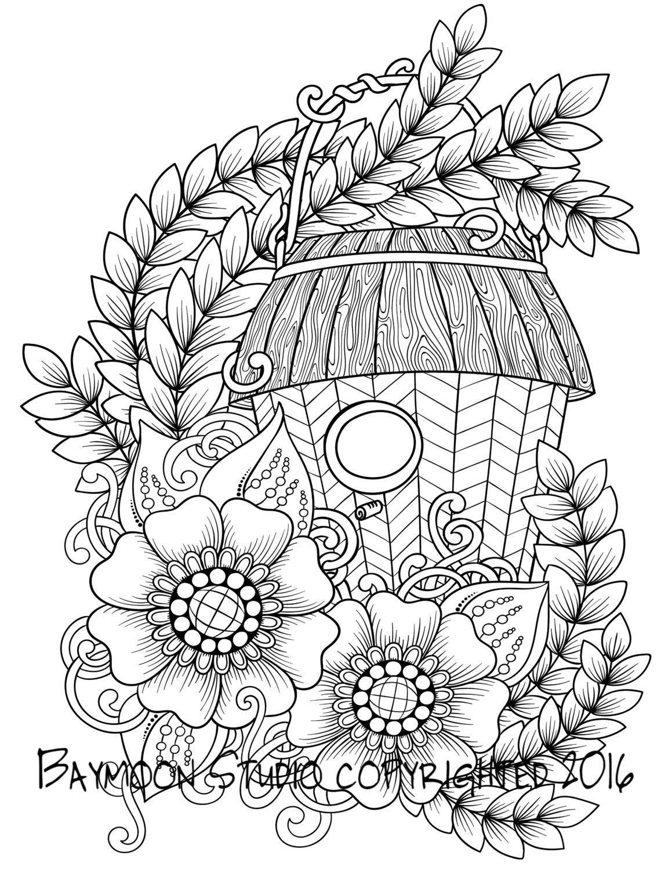 Comedero para pájaros y flores para colorear por BAYMOONSTUDIO ...
