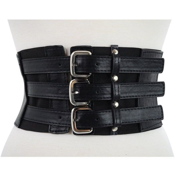 2197c839c5c Gothic Rockabilly Steampunk Black Triple Buckle Wide Elastic Belt... ( 15)  ❤ liked on Polyvore featuring accessories