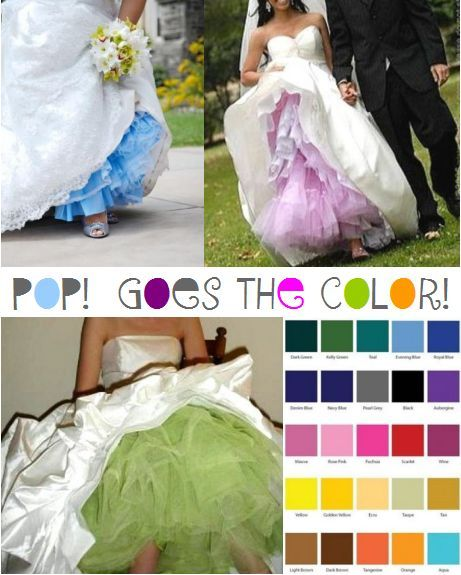 Wedding Gowns With Colored Crinolines