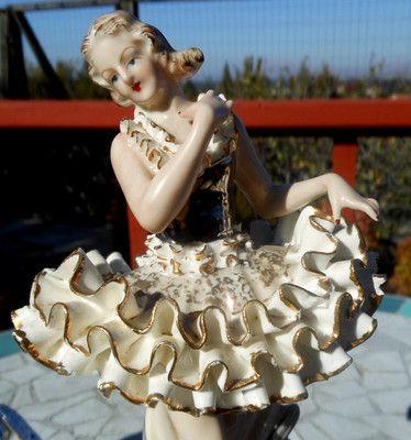 Dresden Lace Meissen Ballerina Figurine Statue Porcelain