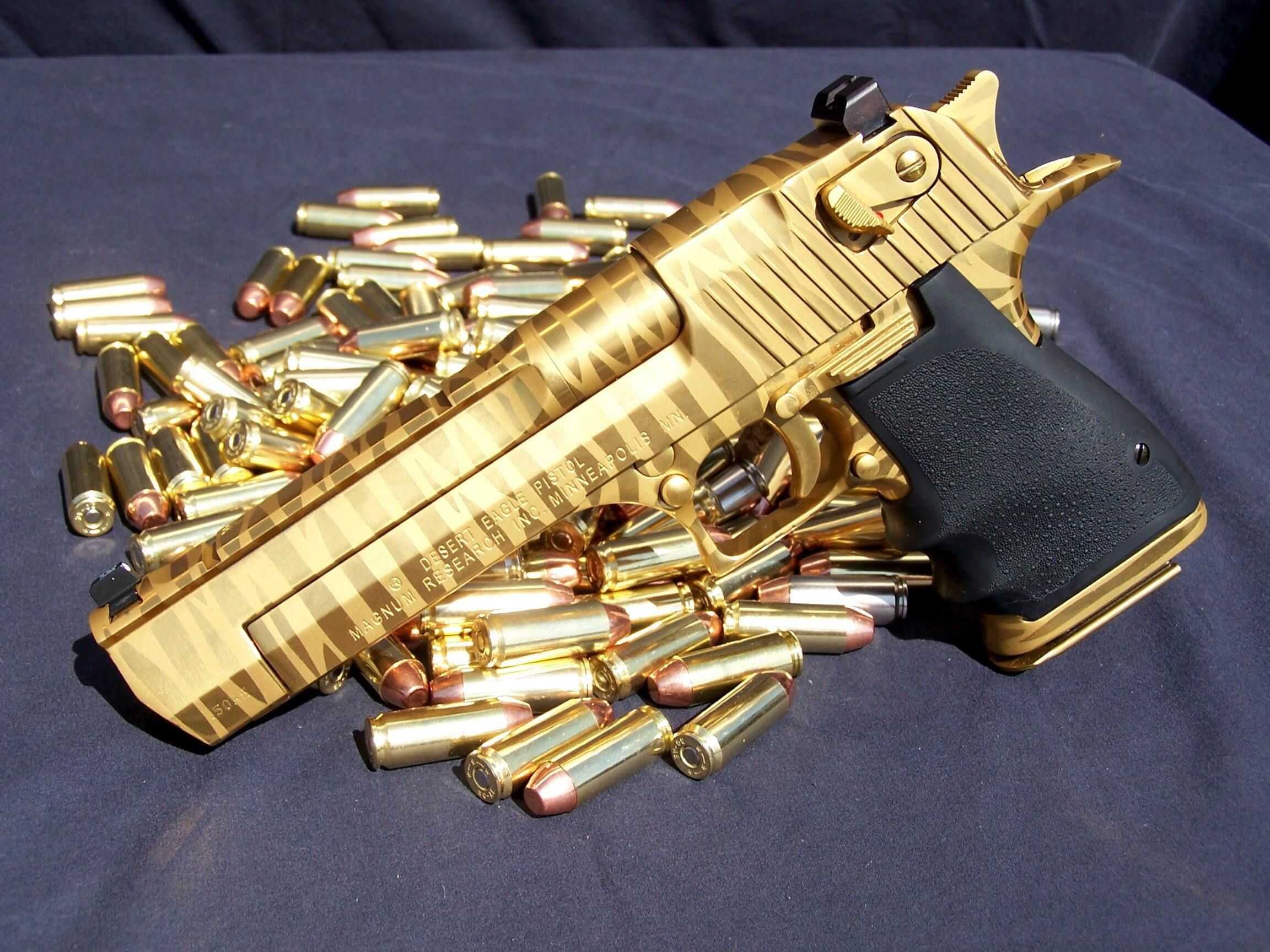 Imi Desert Eagle 50 Ae Gold Plated And Tiger Striped Waffen