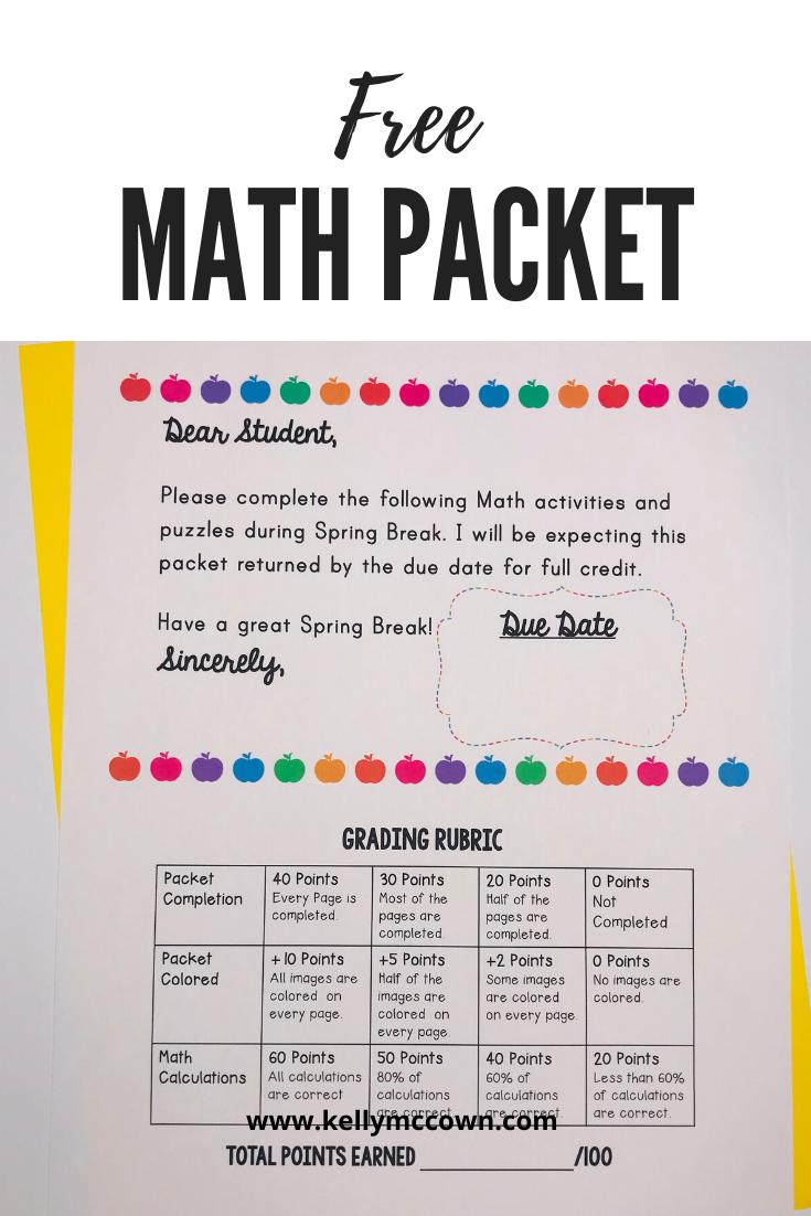 Spring Break Packet Math Lesson Plans Elementary Spring Math Worksheets Middle School Math Worksheets [ 1102 x 735 Pixel ]