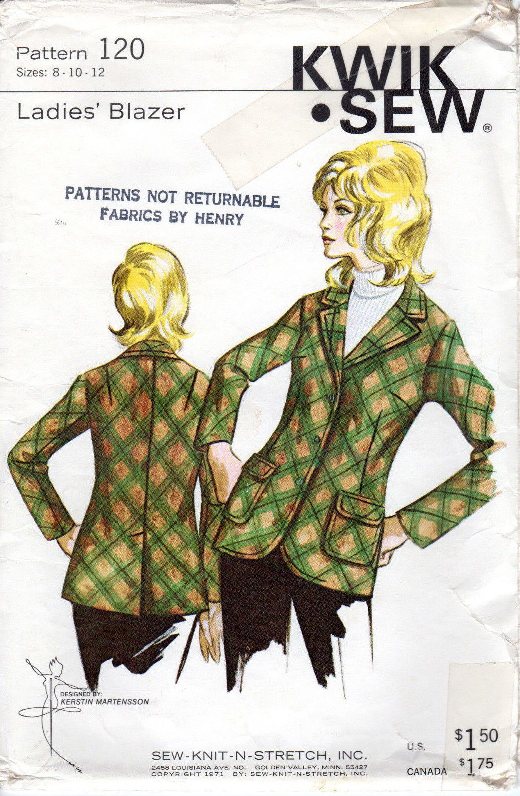 Uncut 1971 kwik sew master sewing pattern 120 ladies blazer 8 uncut 1971 kwik sew master sewing pattern 120 ladies blazer 8 jeuxipadfo Gallery