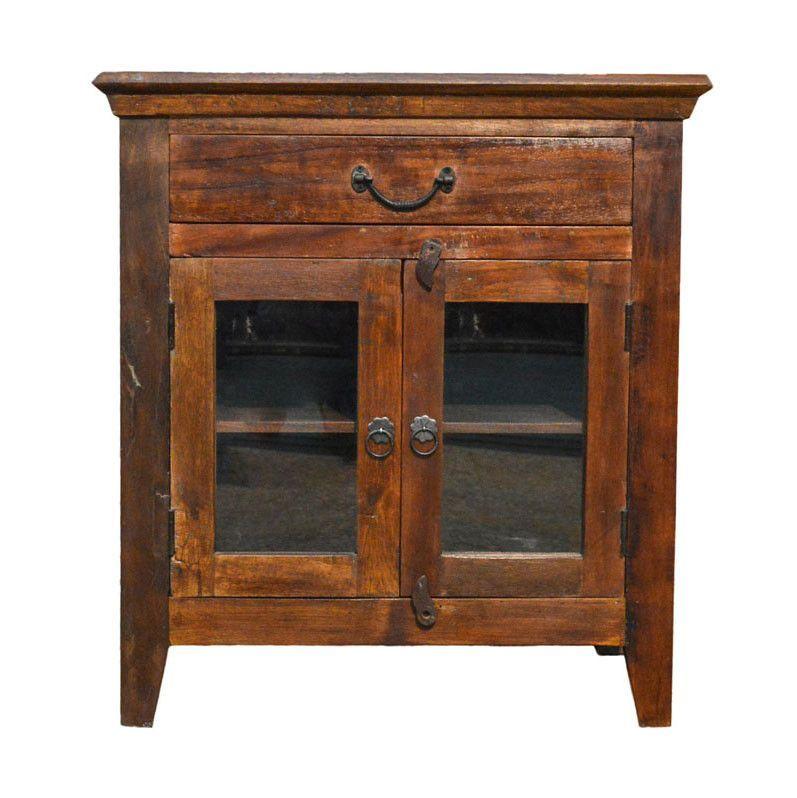 Reclaimed Rustic Floor Storage Cabinet Table With Glass Doors