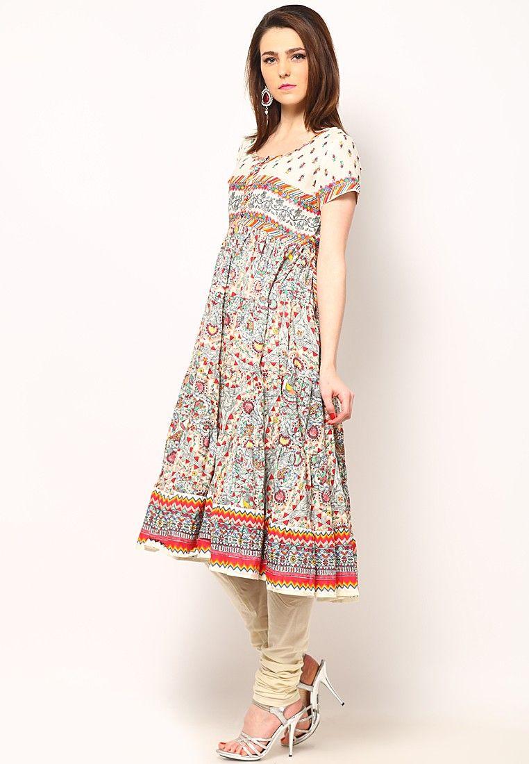2b29e913c3a Printed Cotton Flair Off White Kurta Online Shopping - Biba ...