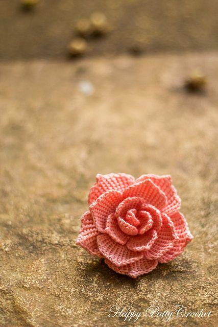 Rose Flower Applique Pattern By Happy Patty Crochet Applique