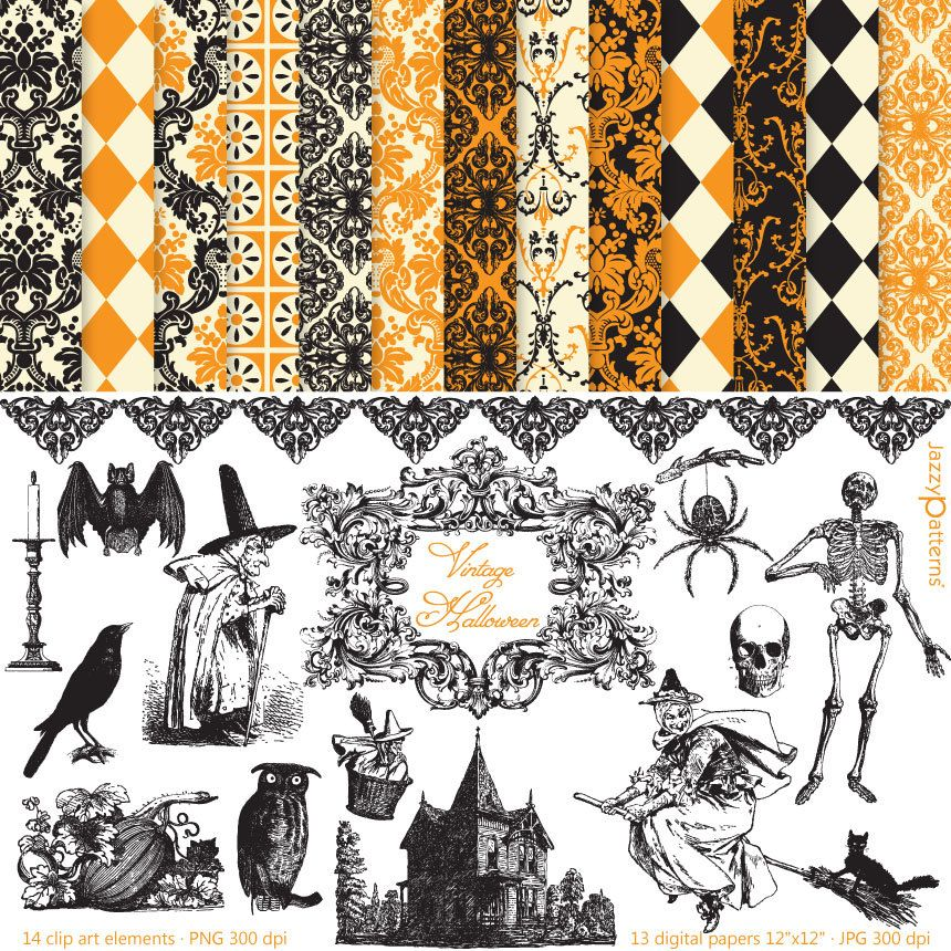 vintage halloween clipart and digital paper pack dk014 halloween rh pinterest com vintage halloween clipart free vintage halloween clipart free