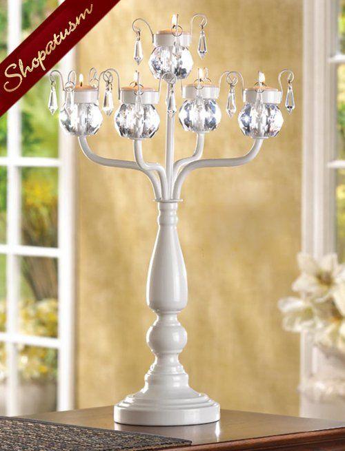 36 White Metal Wedding Candelabra Crystal Centerpieces Bulk Lot