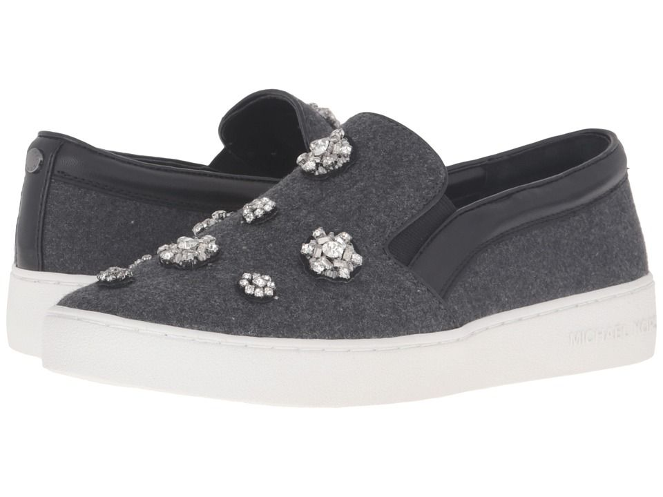 The Cheapest Womens Casual Shoes - Michael Kors Keaton Slip On Charcoal Flannel/Nappa/Brooches