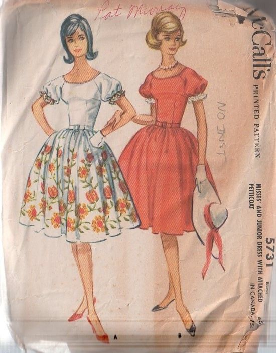 MOMSPatterns Vintage Sewing Patterns - McCall's 5731 Vintage 60's Sewing Pattern DANDY Petite Rockabilly Raglan Puff Sleeves, Fitted BOdice, Full Border Print Skirt, Attached Petticoat Crinoline Slip NO INSTRUCTIONS