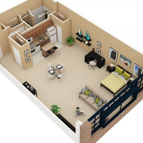 Studio apartment 3d floor plan google search navy hot for Apartment design plans 3d