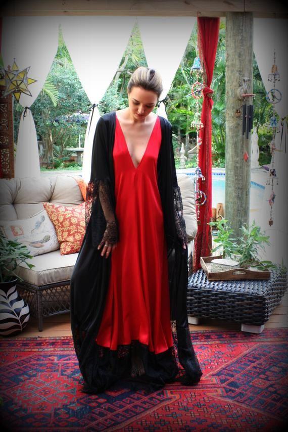 Black Satin Robe Wide Lace Trim Valentines Day Lingerie Black Sleepwear Red  Lingerie  ecf44e7e3