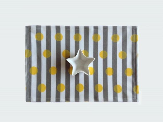 Wipe Clean Placemat Yellow Polka Dot And Grey Stripe Etsy Yellow Polka Dot Placemats Cleaning Wipes