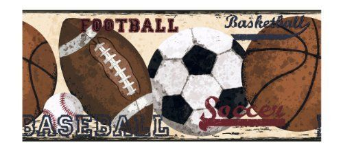 York Wallcoverings Candice Olson Kids Ck7624b Vintage Sports Border Creme By York Wallcoverings Http Football Themed Room Sports Wallpapers Wallpaper Border