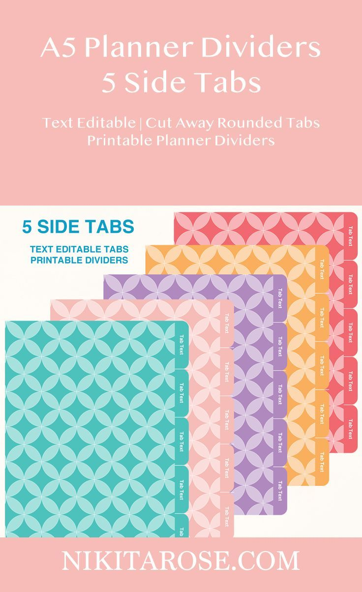 A planner dividers side tabs text editable cut away rounded