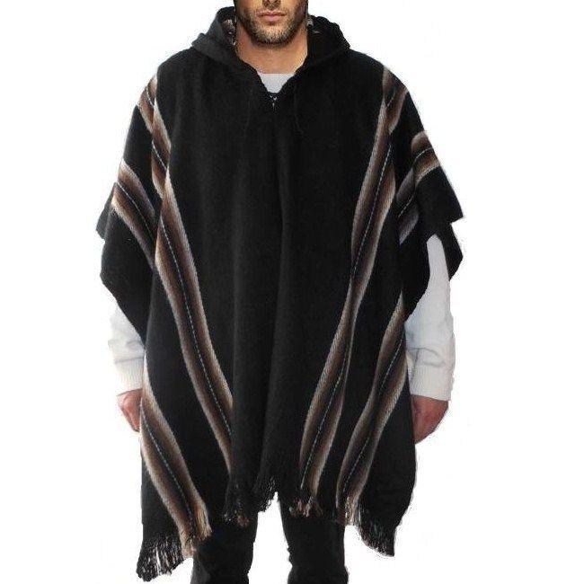 Mens organic sheep wool hooded poncho NzFJSw