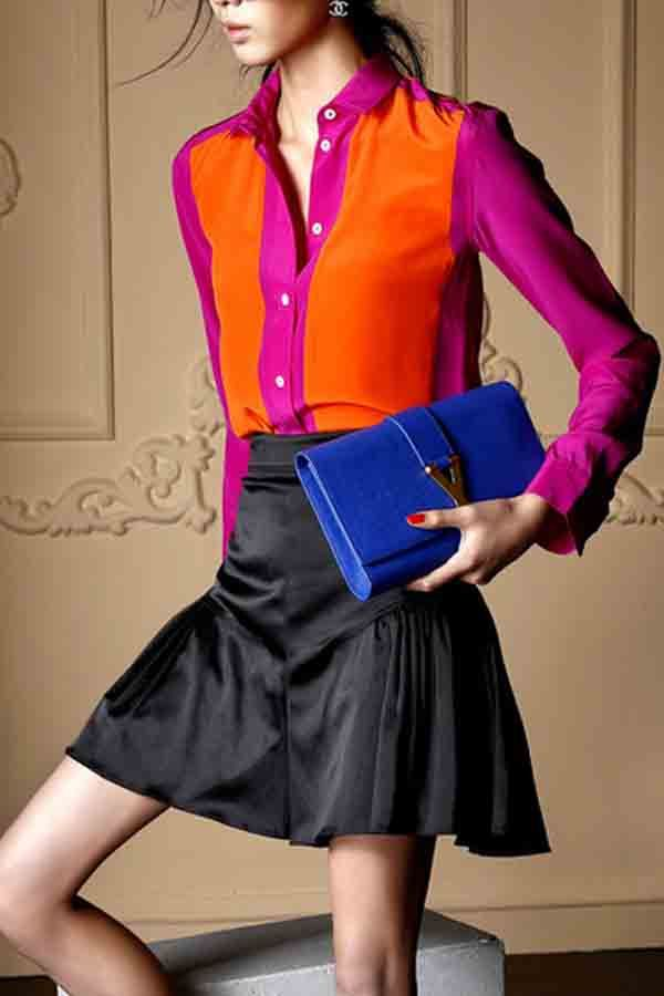 $19.99 Color Block Splicing Long Sleeve Blouses @ MayKool.com