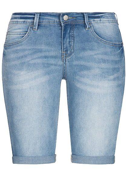 647e9aef961300 Seventyseven Lifestyle Damen Short 5-Pockets Beinumschlag hell blau denim -  77onlineshop