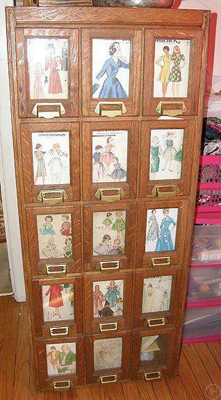 Nice! vintage sewing pattern case / storage / drawers … | Amanfa\'s ...