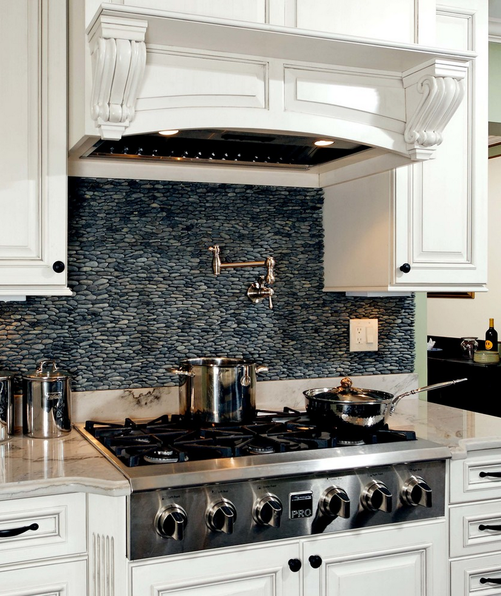 Black Pebble Backsplash In Classic French Kitchen
