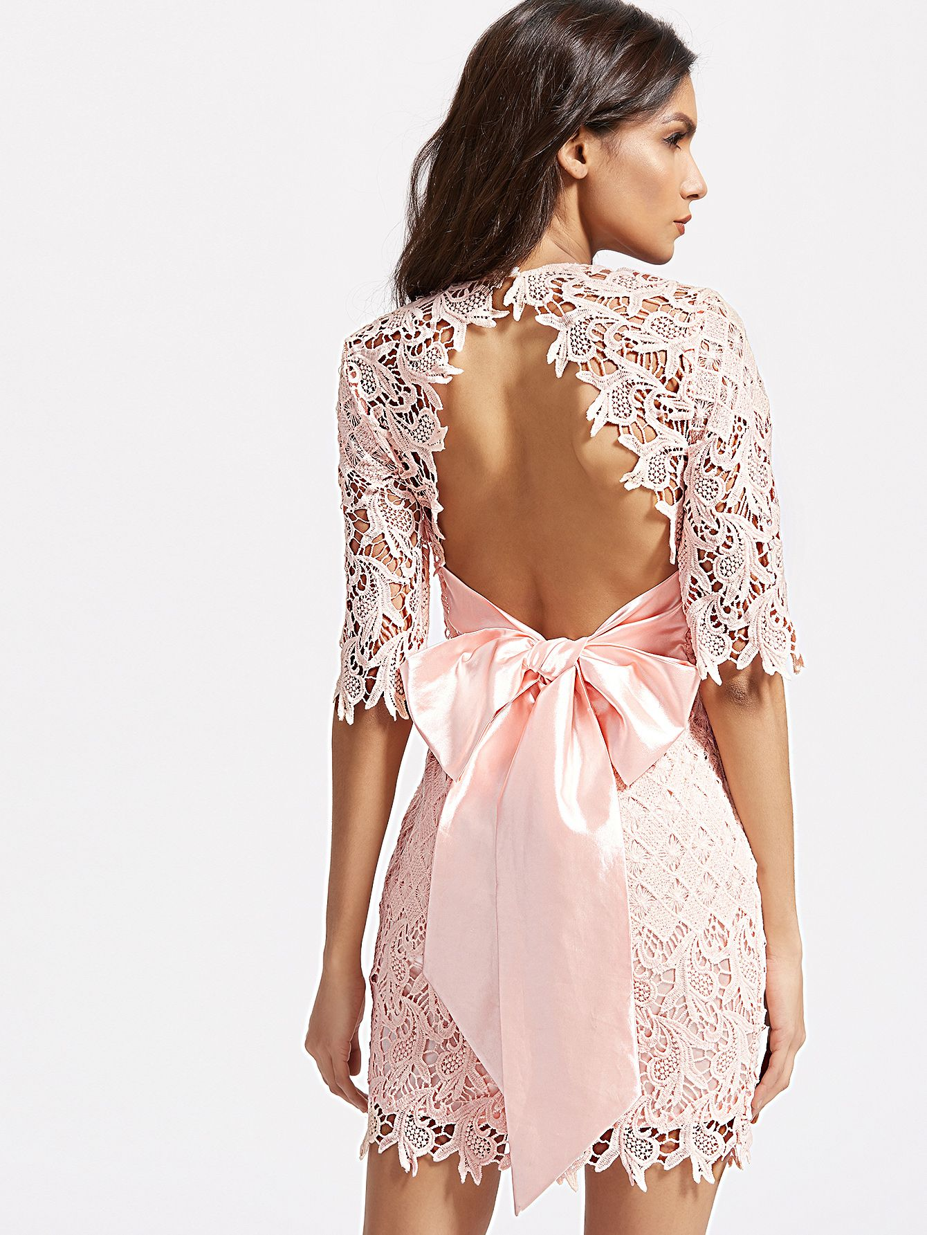 e519a077047c Shop Pink Half Sleeve Bow Tie Open Back Embroidered Lace Dress ...