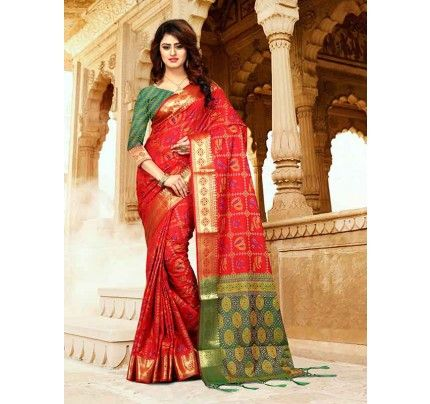 3ef41e532e Red Color Heavy Banarasi Silk With Fancy Blouse Cotton Saree in 2019 ...