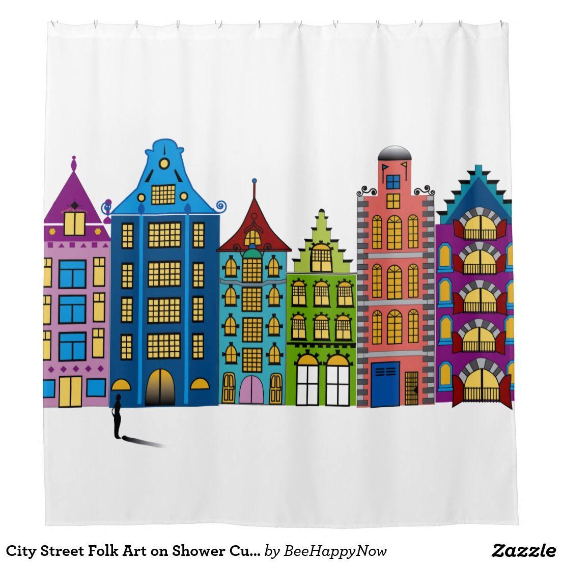City Street Folk Art On Shower Curtain