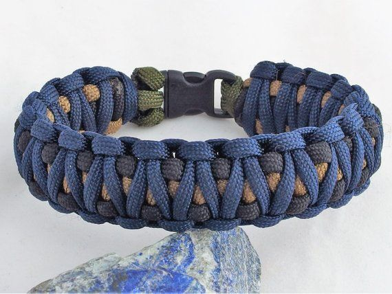 Tricolor Paracord Bracelet Handcrafted 550 Cord Bracelet In Blue