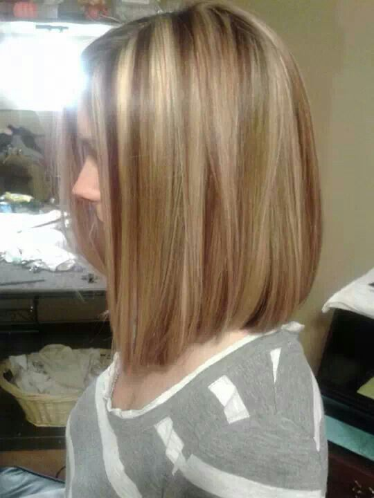 Long bob with red lowlights / blonde highlights | Hair ...