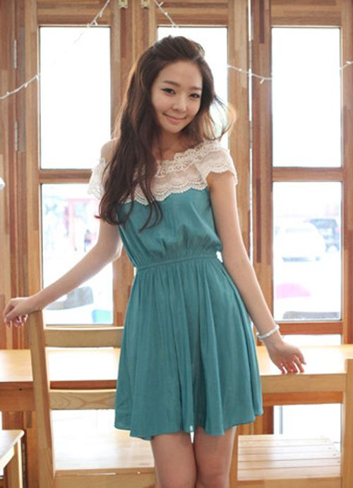 Charming Lace Cross Shoulder Blue Belted Blue Dresses : Wholesaleclothing4u.com
