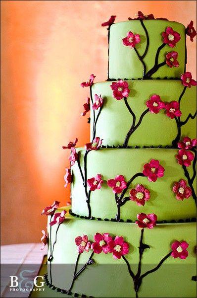 Pink & green wedding cake jen_berggren