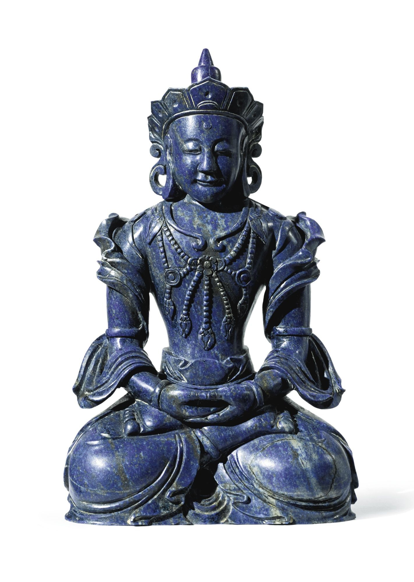 A LAPIS LAZULI FIGURE OF AMITAYUS CHINA, QING DYNASTY, QIANLONG PERIOD  清乾隆 青金石雕無量壽佛坐像