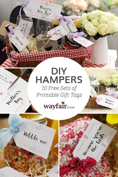 A closeup of a diy gift hamper filled with homemade gifts and free a closeup of a diy gift hamper filled with homemade gifts and free printable gift tags negle Images